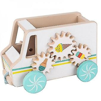 Caraele Wooden Ice Cream Cart Pretend Drag Car Toys Colourful Children Puzzle Learning Toys|blocks