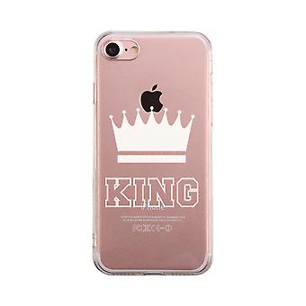 King  Transparent Couple Matching Phone Case Cute Clear Phonecase