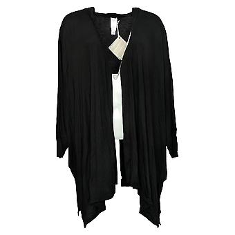 Wynne Layers Women's Plus Top Unconstructed Open-Front Knit Black 694606