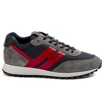 Sneakers Hogan H383 Bleu, Gris Et Rouge En Suede Et Nylon