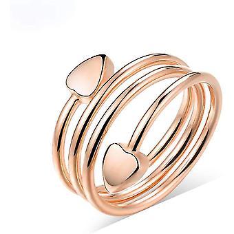 Reines Kupfer magnetische Therapie Ringe für Frauen Doppel Herz Finger Gold Ring Set