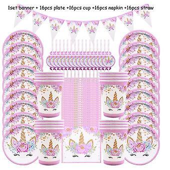 65шт Девушка День рождения Розовый единорог Бумажная тарелка Принадлежности для вечеринки