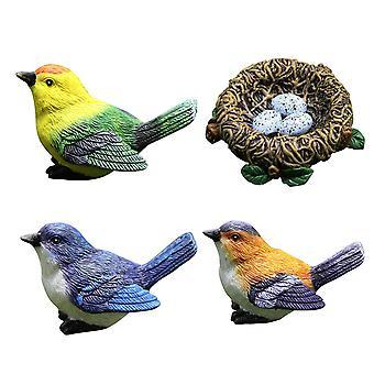 Miminiature Garden Harts Fågeldekoration Ornament Harts Djur Modell Dekoration