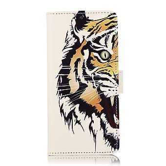 Étui de portefeuille pour Samsung Galaxy A22 5g Flip Case Cuir Wallet Card Cover - Tiger