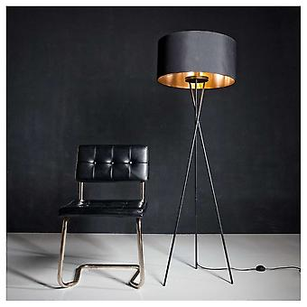 Eglo Fondachelli Nickel Tripod Floor Lamp With Black Shade