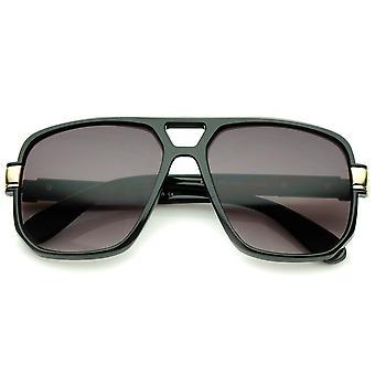 Klassische Flat Top Metall akzentuierte Tempel Square Pilotenbrille Brille 56mm