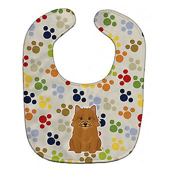 Carolines Treasures  BB5849BIB Pawprints Norwich Terrier Baby Bib