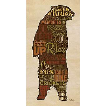 Cabin Rules Poster Print by Lauren Rader (9 x 18)