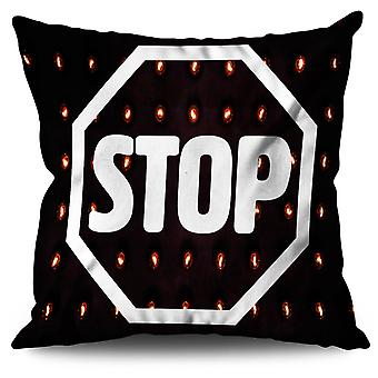 Stop Road Sign Fashion Linen Cushion 30cm x 30cm | Wellcoda