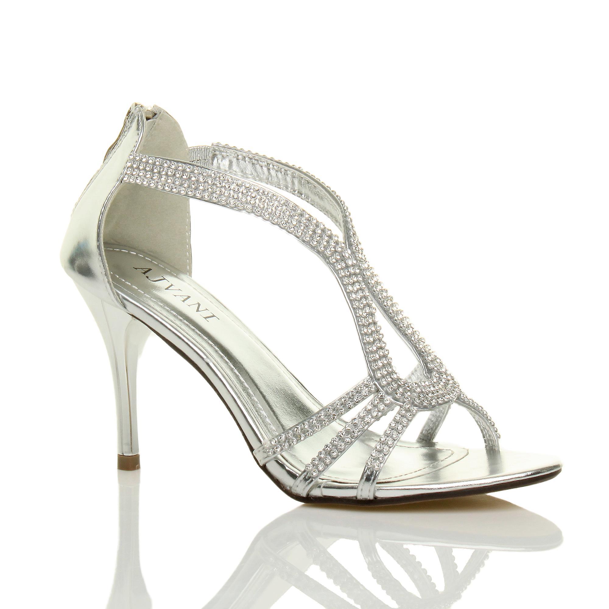 Ajvani damskie szpilki strappy t-bar diamante wesele wieczór sandały 9V3GN