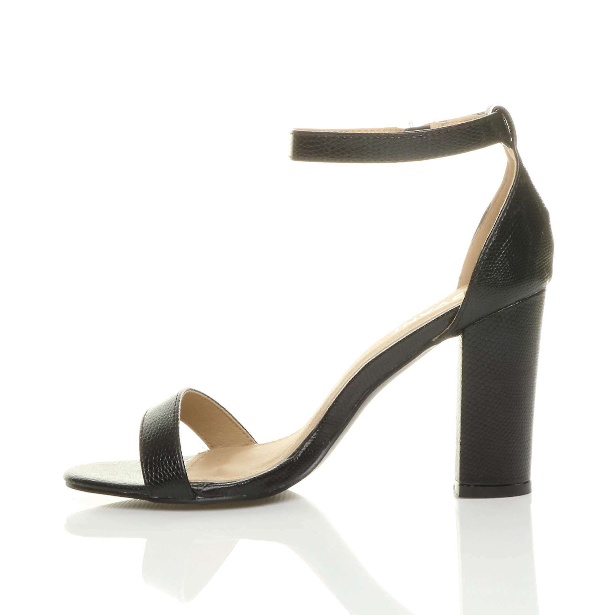 Womens Ajvani bloc haut talon cheville sangle peep toe strappy sandals chaussures pompes parti