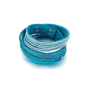 3 Rangs bracelet adorned with Blue and White Crystals of Swarovski and Turquoise Velvet 4527