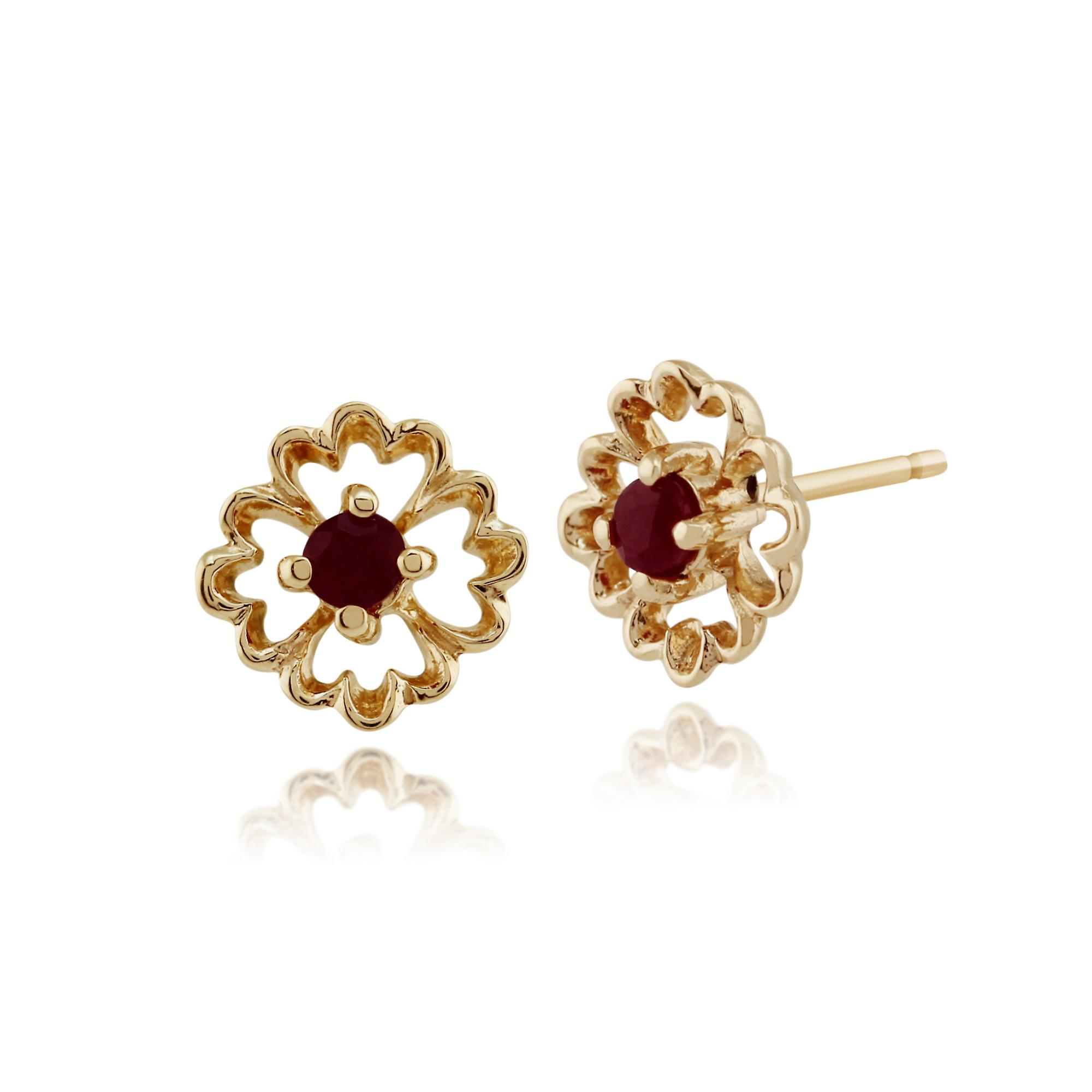 Gemondo 9ct Yellow Gold 0.14ct Floral Ruby Stud Earrings