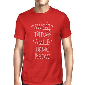 Sweat Smile Mens Red Graphic Crewneck T-Shirt Funny Work Out Tee