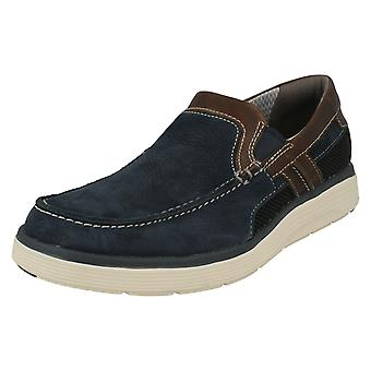 Mens Clarks Casual Slip On Shoes Un Abode Free - Navy Nubuck - UK Size 8G - EU Size 42 - US Size 9M