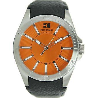 Hugo Boss Orange men clock leather 1512870
