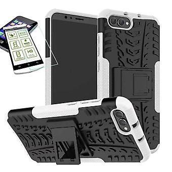 Hybrid Case 2teilig Weiß für Huawei Honor View 10 / V10 + Hartglas Tasche Hülle Cover