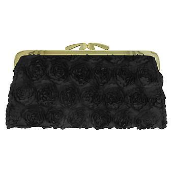 Ladies Rose Detail Textured Clasp Purse Ella 70532