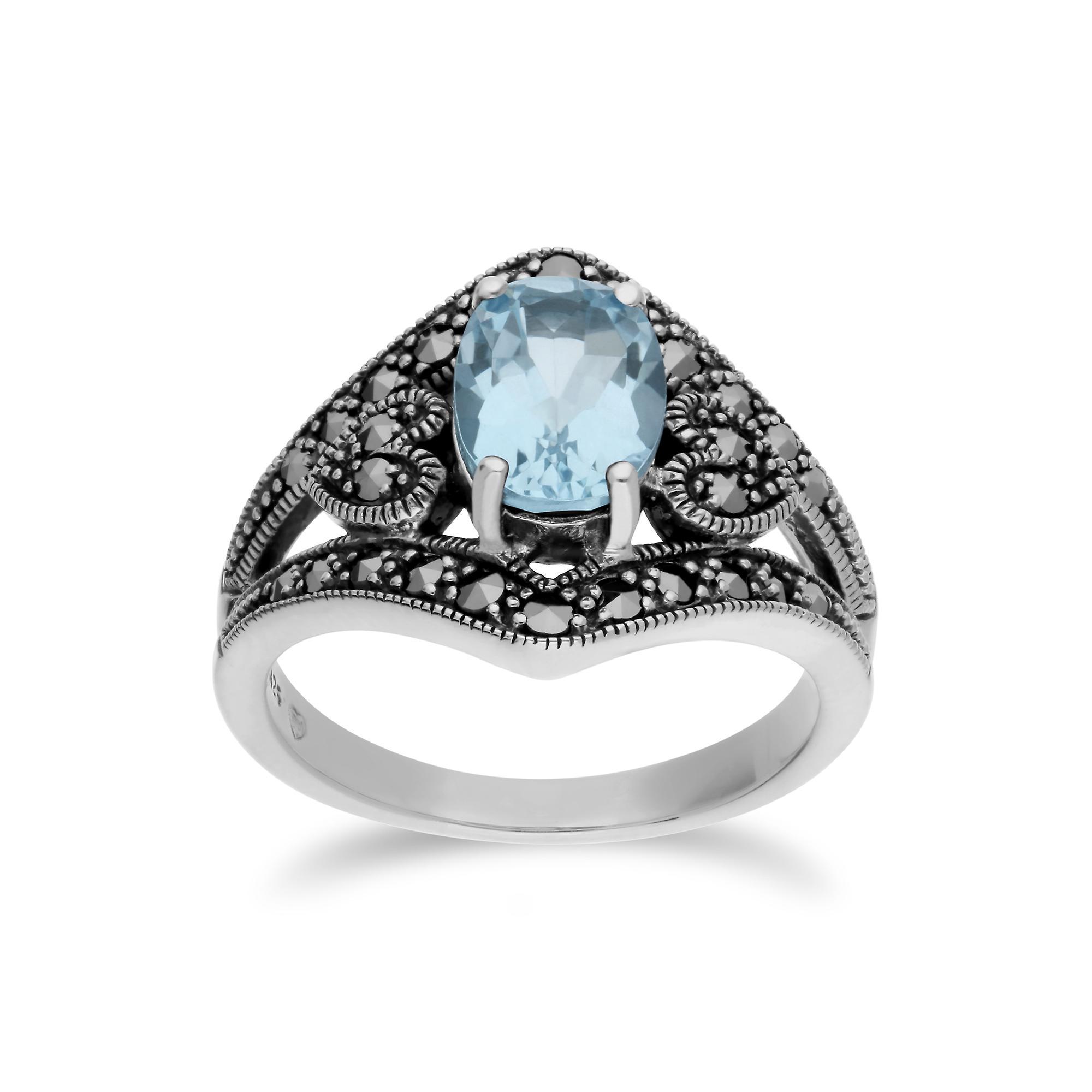 Gemondo Sterling Silver Blue Topaz & Marcasite Oval Art Nouveau Ring