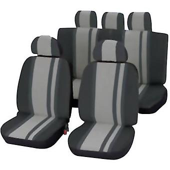Unitec 84957 Newline Seat covers 14-piece Polyester Black, Grey Drivers seat, Passenger seat, Back seat