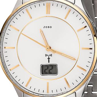 JOBO men's wristwatch radio radio clock bicolor stainless steel men's watch with date