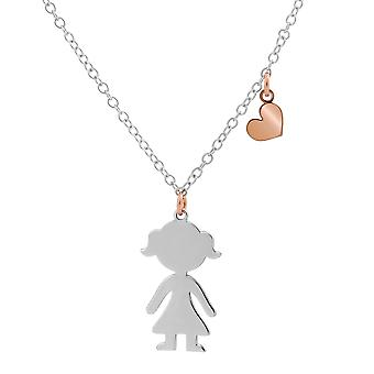 Orphelia Silver 925 Chain with Pendant  Bicolor Girl 40+4 cm