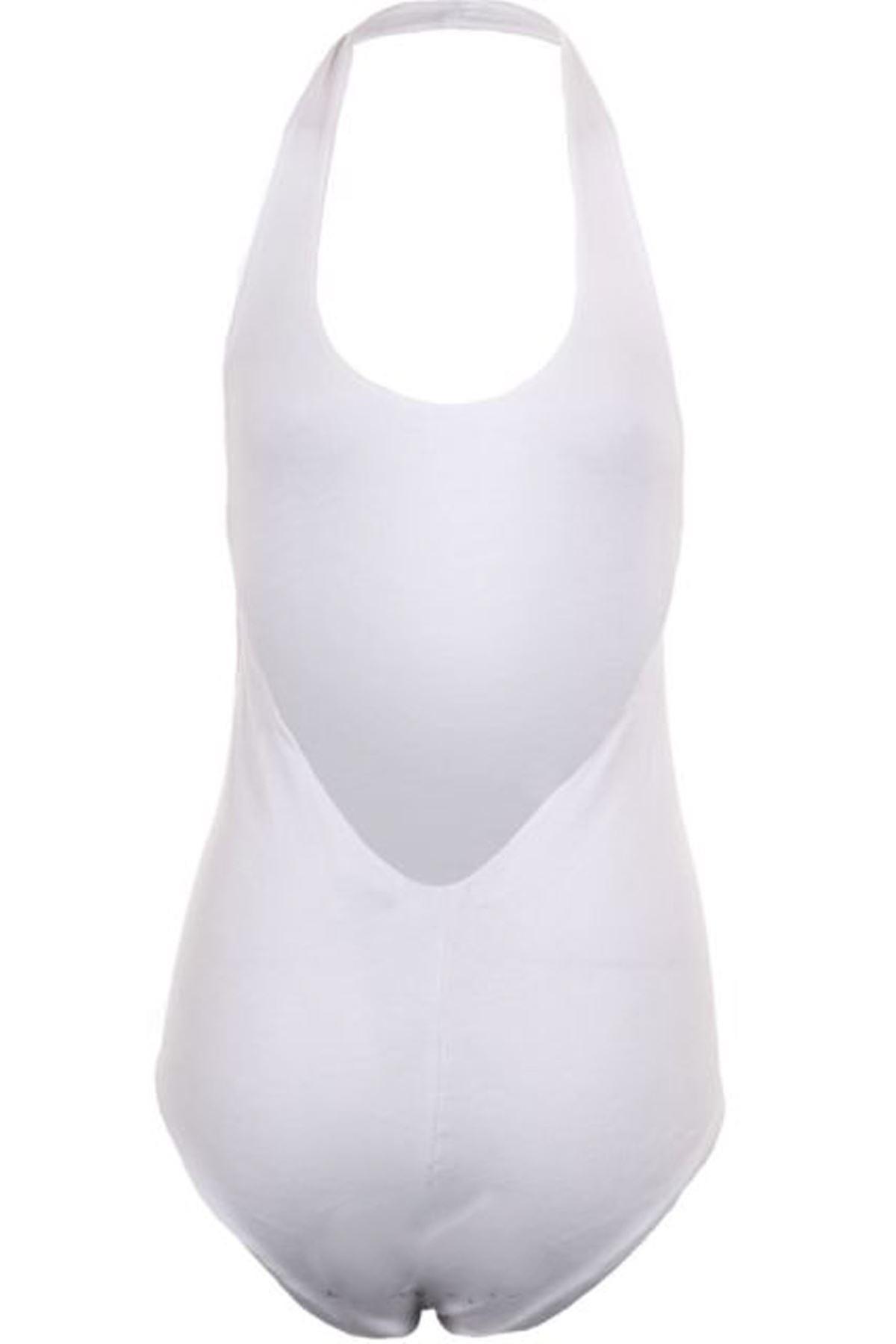 Ladies Halterneck Low Back Black Tartan Checked Women's Leotard Bodysuit Top