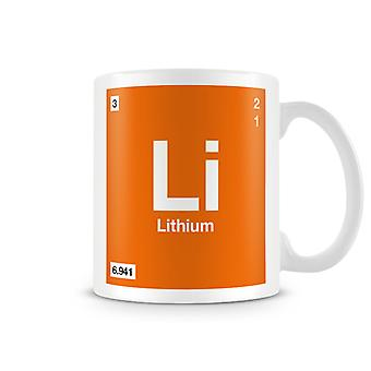 Scientific Printed Mug Featuring Element Symbol 003 Li - Lithium