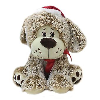 Festive Productions 30cm Brown Dog with Christmas Hat & Bow Plush Toy