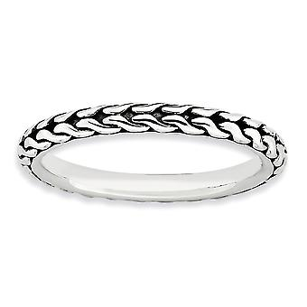 2.5mm 925 Sterling Silver Polished Patterned finish Stackable Expressions Ring Jewelry Gifts for Women - Ring Size: 5 to