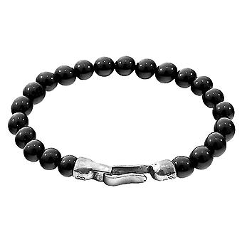Anchor and Crew Outrigger Onyx Stone Bracelet - Black/Silver
