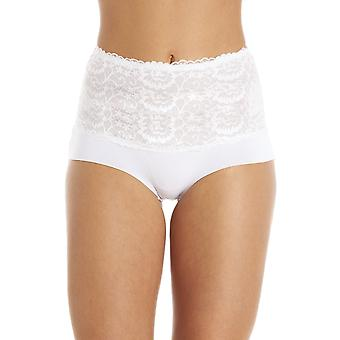 Camille White High Waist Seamless Floral Lace Briefs