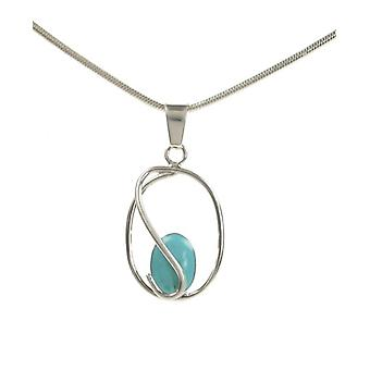 Cavendish French Sterling Silver Caged Formed Turquoise Stone Pendant without Chain