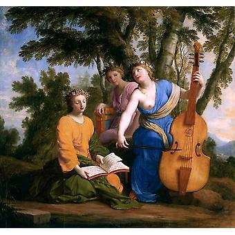 Melpomene, Erato und Polymnia, Eustache Le Sueur, 50x50cm