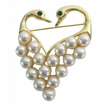 Newest Fashion Elegant Gold Heart Shape Swam Brooch Gift Your Love One