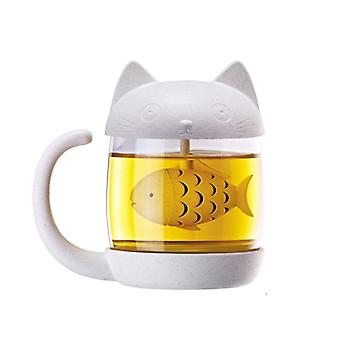 Cat-Teacup w szklance z fish-shaped Teasil