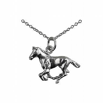 Серебряный 15x22mm Скачущую Лошадь Кулон с Роло цепь 24 дюймов