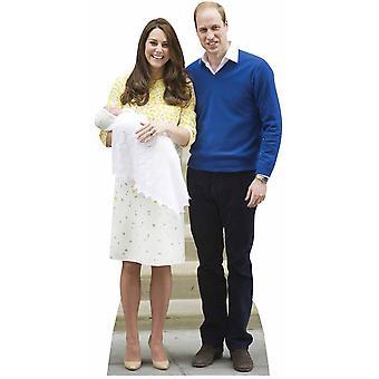 Princess Charlotte, Prince William and Kate The Duchess of Cambridge Lifesize Cardboard Cutout / Standup