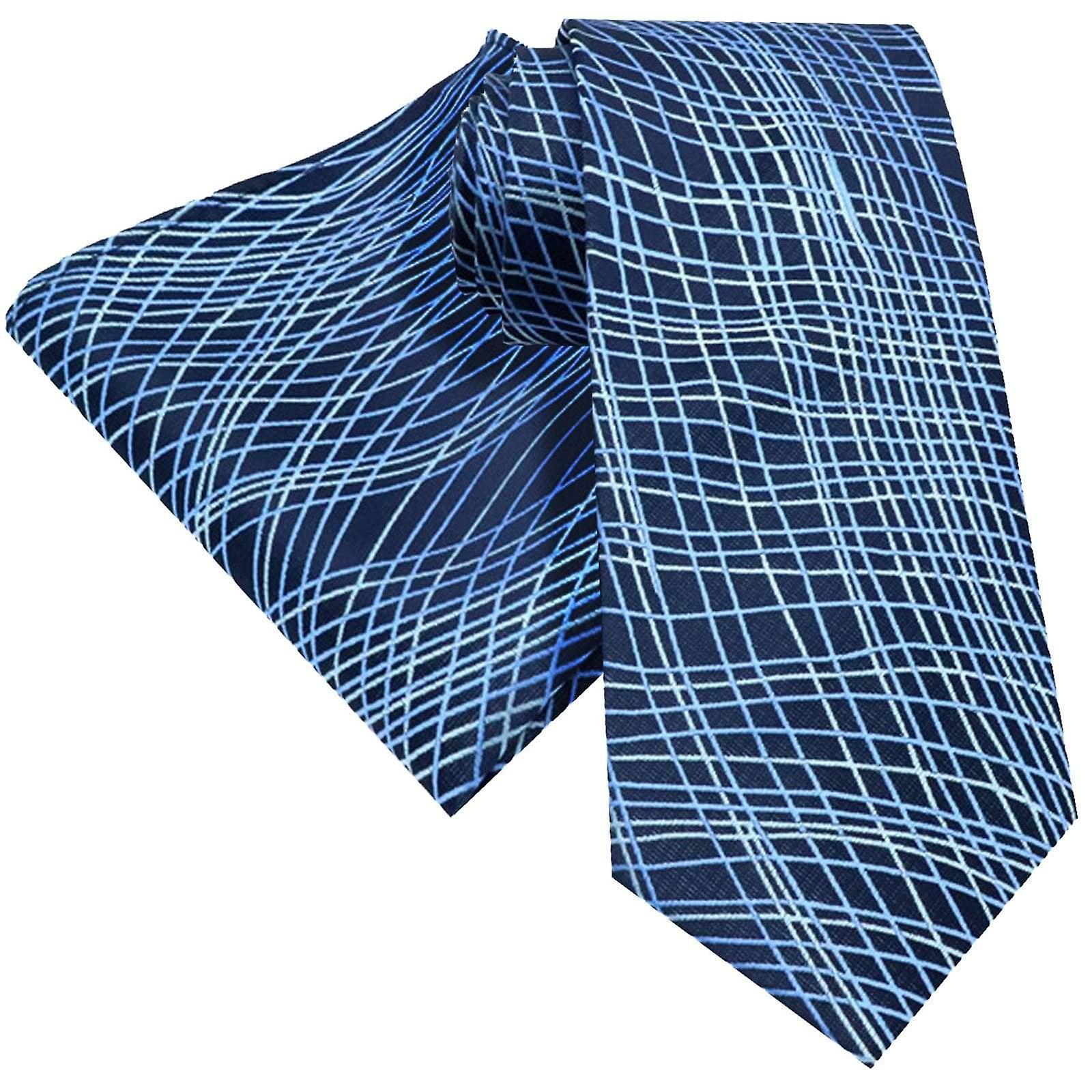Electric blue swirl pattern pocket square & necktie set