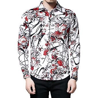Allthemen Men's Long Sleeve Shirt Plum Blossom Branch Causal Shirt