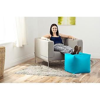 Turquoise Faux Leather Bean Bag Cube Footstool Pouffe Seat