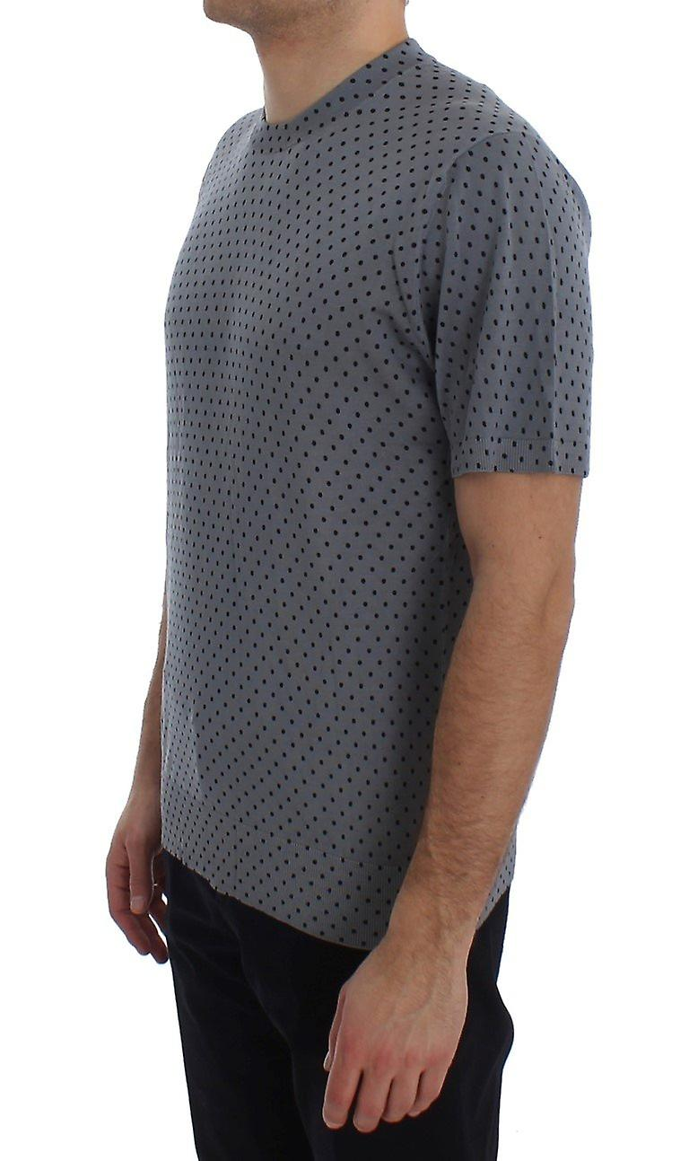 Blue polka dotted silk pullover t-shirt