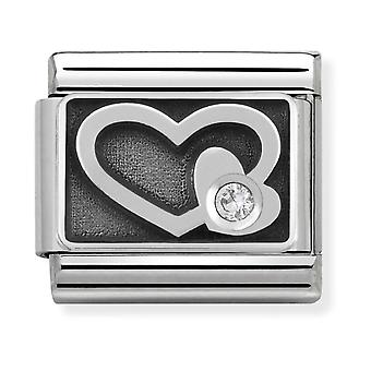 Nomination Classic Engraved Heart Oxidised Steel, CZ and 925 Silver Link Charm 330314/05