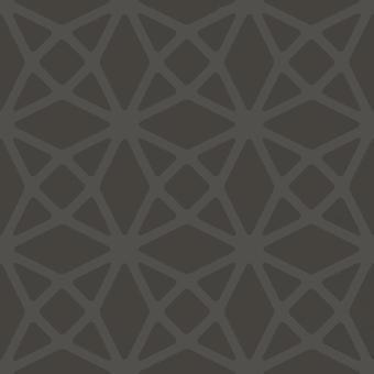 Geometric Lattice Diamonds Wallpaper Charcoal Silver Metallic Paste Wall