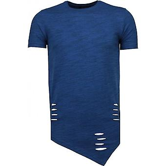 Sleeve Ripped-T-Shirt-Navy