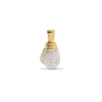 Jewelco London Men's Solid 9ct Yellow Gold Pave Set Round H I2 0.5ct Diamond Large Boxing Glove Charm Pendant