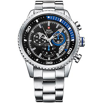 Swiss Military Swiss Quartz Analog Man Watch with SM34042.04 Stainless Steel Bracelet