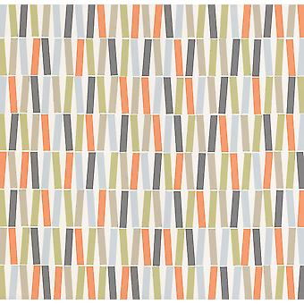 Geometric Sticks Lines Stripes Wallpaper Retro Orange Blue White Green Vinyl P+S
