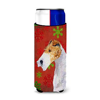 Fox Terrier Red and Green Snowflakes Holiday Christmas Ultra Beverage Insulators