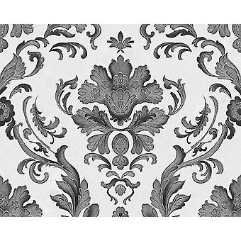 Orné Floral Damask Wallpaper Textured Metallic White Silver AS Création